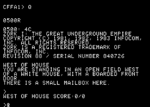 Opening screen for Zork 1 on an emulated Apple 1